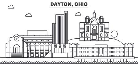 デイトン、オハイオ州建築線スカイラインの図。有名なランドマーク、観光、デザイン アイコンと線形ベクトル街並み。編集可能なストローク  イラスト・ベクター素材