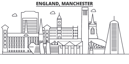England, Manchester architecture line skyline illustration. Linear vector cityscape with famous landmarks, city sights, design icons. Editable strokes