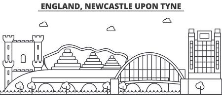 イギリス、ニューカッスル ・ アポン ・ タイン建築線スカイラインの図。有名なランドマーク、観光、デザイン アイコンと線形ベクトル街並み。編  イラスト・ベクター素材