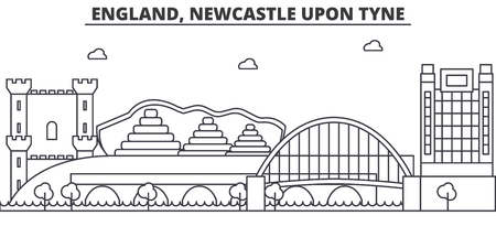 England, Newcastle Upon Tyne architecture line skyline illustration. Linear vector cityscape with famous landmarks, city sights, design icons. Editable strokes