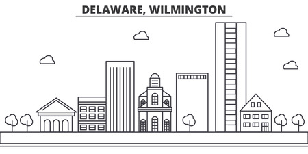 Delaware, Wilmington architecture line skyline illustration. Linear vector cityscape with famous landmarks, city sights, design icons. Editable strokes