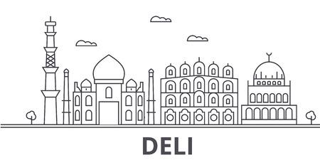 デリ建築線スカイラインの図。有名なランドマーク、観光、デザイン アイコンと線形ベクトル街並み。編集可能なストローク