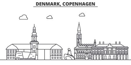 デンマーク、コペンハーゲンの建築線のスカイラインの図。有名なランドマーク、観光、デザイン アイコンと線形ベクトル街並み。編集可能なスト  イラスト・ベクター素材