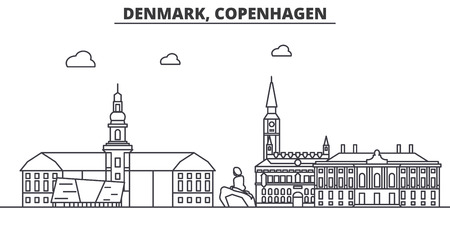 Denmark, Copenhagen architecture line skyline illustration. Linear vector cityscape with famous landmarks, city sights, design icons. Editable strokes Çizim