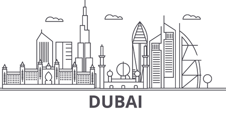 Dubai architecture line skyline illustration. Linear vector cityscape with famous landmarks, city sights, design icons. Editable strokes
