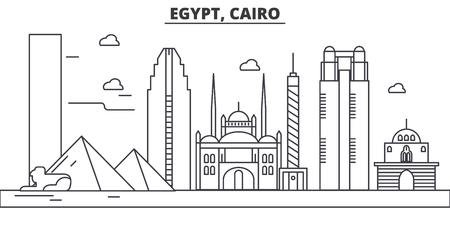 エジプト、カイロ建築線スカイラインの図。有名なランドマーク、観光、デザイン アイコンと線形ベクトル街並み。編集可能なストローク