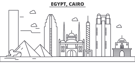 Egypt, Cairo architecture line skyline illustration. Linear vector cityscape with famous landmarks, city sights, design icons. Editable strokes