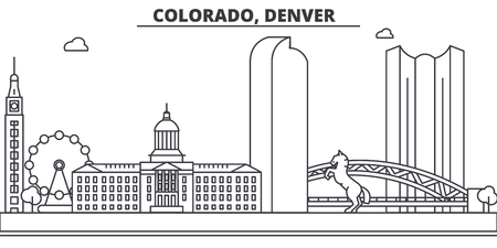 Colorado, Denver architecture line skyline illustration. Linear vector cityscape with famous landmarks, city sights, design icons. Editable strokes
