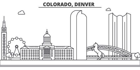コロラド州デンバー建築線スカイラインの図。有名なランドマーク、観光、デザイン アイコンと線形ベクトル街並み。編集可能なストローク  イラスト・ベクター素材