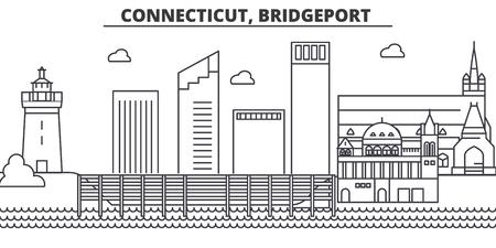 コネチカット州ブリッジポート建築線スカイライン図。有名なランドマーク、観光、デザイン アイコンと線形ベクトル街並み。編集可能なストロー