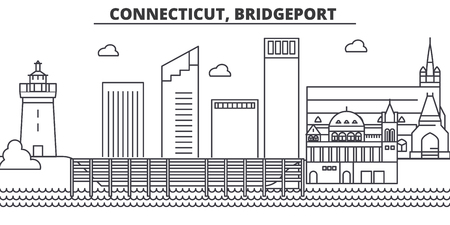 Connecticut, Bridgeport architecture line skyline illustration. Linear vector cityscape with famous landmarks, city sights, design icons. Editable strokes Vettoriali
