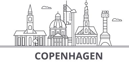 コペンハーゲン建築線スカイラインの図。有名なランドマーク、観光、デザイン アイコンと線形ベクトル街並み。編集可能なストローク  イラスト・ベクター素材