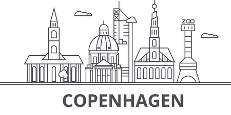 Copenhagen architecture line skyline illustration. Linear vector cityscape with famous landmarks, city sights, design icons. Editable strokes Illustration