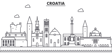クロアチア建築線スカイラインの図。有名なランドマーク、観光、デザイン アイコンと線形ベクトル街並み。編集可能なストローク