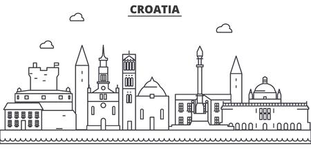 크로아티아 아키텍처 라인 스카이 라인 그림입니다. 선형 벡터 도시의 유명한 랜드 마크, 도시 명소, 디자인 아이콘. 편집 가능한 스트로크