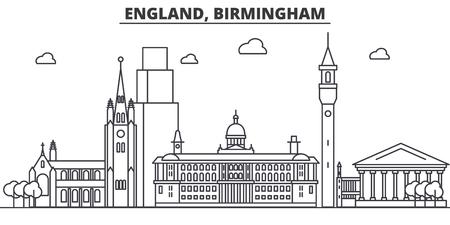 イングランド、バーミンガム建築線スカイラインの図。有名なランドマーク、観光、デザイン アイコンと線形ベクトル街並み。編集可能なストロー