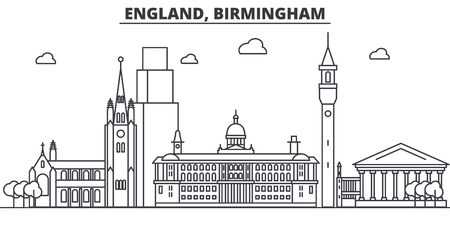 England, Birmingham architecture line skyline illustration. Linear vector cityscape with famous landmarks, city sights, design icons. Editable strokes