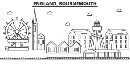 イギリス ボーンマス建築線スカイラインの図。有名なランドマーク、観光、デザイン アイコンと線形ベクトル街並み。編集可能なストローク