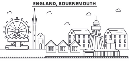 England, Bournemouth architecture line skyline illustration. Linear vector cityscape with famous landmarks, city sights, design icons. Editable strokes Ilustração