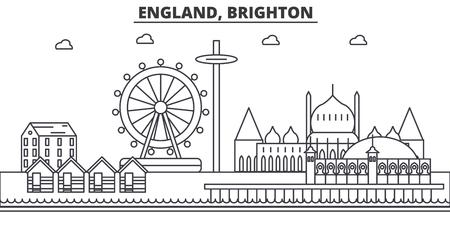 イギリス、ブライトン建築線スカイラインの図。有名なランドマーク、観光、デザイン アイコンと線形ベクトル街並み。編集可能なストローク