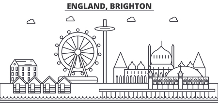 England, Brighton architecture line skyline illustration. Linear vector cityscape with famous landmarks, city sights, design icons. Editable strokes