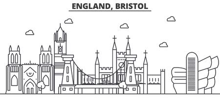 イギリス、ブリストルの建築線のスカイラインの図。有名なランドマーク、観光、デザイン アイコンと線形ベクトル街並み。編集可能なストローク  イラスト・ベクター素材
