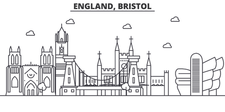 England, Bristol architecture line skyline illustration. Linear vector cityscape with famous landmarks, city sights, design icons. Editable strokes Иллюстрация