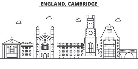 영국, 캠브리지 아키텍처 라인 스카이 라인 그림입니다. 선형 벡터 도시의 유명한 랜드 마크, 도시 명소, 디자인 아이콘. 편집 가능한 스트로크