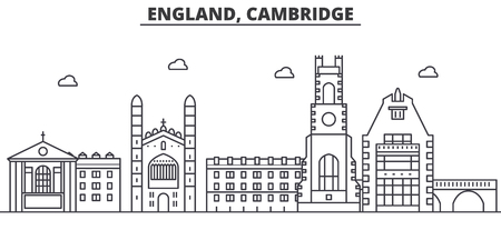 England, Cambridge architecture line skyline illustration. Linear vector cityscape with famous landmarks, city sights, design icons. Editable strokes