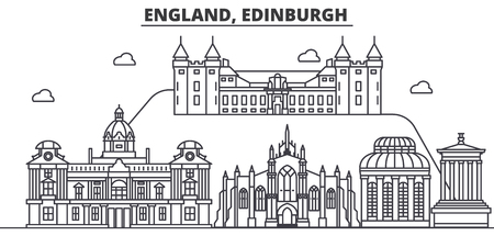 England, Edinburgh architecture line skyline illustration. Linear vector cityscape with famous landmarks, city sights, design icons. Editable strokes