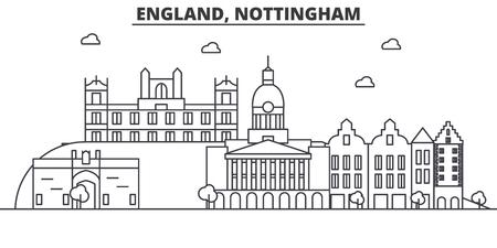 イギリス、ノッティンガム建築線スカイラインの図。有名なランドマーク、観光、デザイン アイコンと線形ベクトル街並み。編集可能なストローク