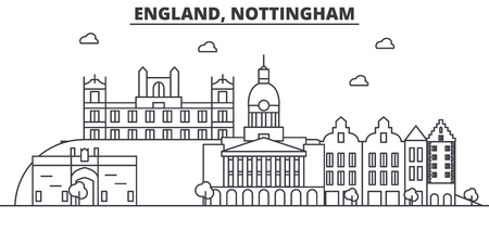 England, Nottingham architecture line skyline illustration. Linear vector cityscape with famous landmarks, city sights, design icons. Editable strokes