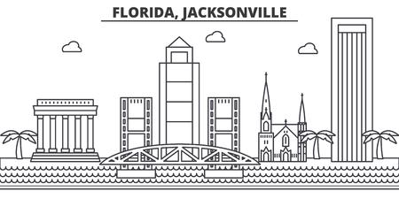 フロリダ州ジャクソンビル建築線スカイラインの図。有名なランドマーク、観光、デザイン アイコンと線形ベクトル街並み。編集可能なストローク