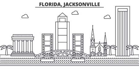 Florida, Jacksonville architecture line skyline illustration. Linear vector cityscape with famous landmarks, city sights, design icons. Editable strokes 向量圖像