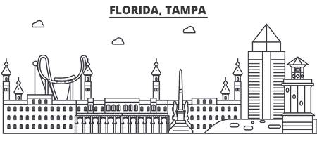 Florida, Tampa architecture line skyline illustration. Linear vector cityscape with famous landmarks, city sights, design icons. Editable strokes Illustration