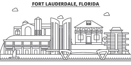 フォートローダーデール、フロリダ州建築線スカイラインの図。有名なランドマーク、観光、デザイン アイコンと線形ベクトル街並み。編集可能な