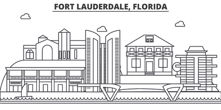 Fort Lauderdale, Florida architecture line skyline illustration. Linear vector cityscape with famous landmarks, city sights, design icons. Editable strokes