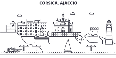 France, Ajaccio architecture line skyline illustration. Linear vector cityscape with famous landmarks, city sights, design icons. Editable strokes