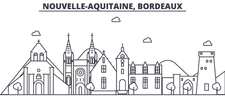 France, Bordeaux architecture line skyline illustration. Linear vector cityscape with famous landmarks, city sights, design icons. Editable strokes