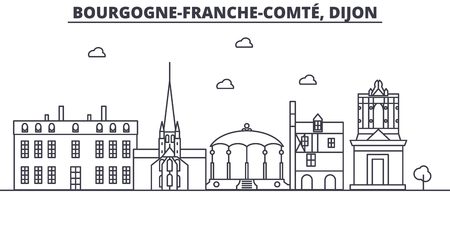 France, Dijon architecture line skyline illustration. Linear vector cityscape with famous landmarks, city sights, design icons. Editable strokes