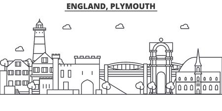 イングランド、プリマス建築線スカイラインの図。有名なランドマーク、観光、デザイン アイコンと線形ベクトル街並み。編集可能なストローク 写真素材 - 87743531
