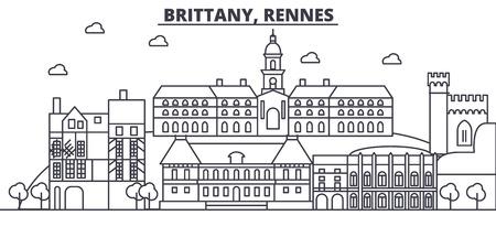 フランス、レンヌ建築線スカイラインの図。有名なランドマーク、観光、デザイン アイコンと線形ベクトル街並み。編集可能なストローク