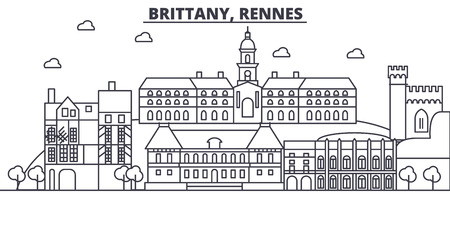 France, Rennes architecture line skyline illustration. Linear vector cityscape with famous landmarks, city sights, design icons. Editable strokes Illustration
