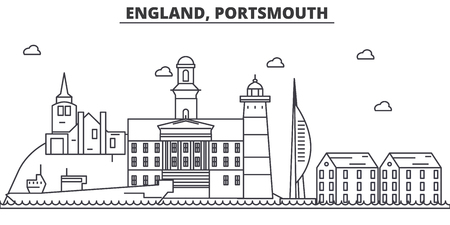 イギリス、ポーツマス建築線スカイラインの図。有名なランドマーク、観光、デザイン アイコンと線形ベクトル街並み。編集可能なストローク