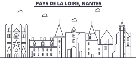France, Nantes architecture line skyline illustration. Linear vector cityscape with famous landmarks, city sights, design icons. Editable strokes