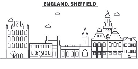 England, Sheffield architecture line skyline illustration. Linear vector cityscape with famous landmarks, city sights, design icons. Editable strokes