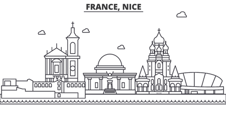 France, Nice architecture line skyline illustration. Linear vector cityscape with famous landmarks, city sights, design icons. Editable strokes