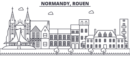 France, Rouen architecture line skyline illustration. Linear vector cityscape with famous landmarks, city sights, design icons. Editable strokes Illustration