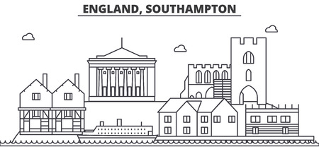 イギリス、サウサンプトン建築線スカイラインの図。有名なランドマーク、観光、デザイン アイコンと線形ベクトル街並み。編集可能なストローク