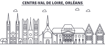 フランス、ニューオーリンズ建築線スカイラインの図。有名なランドマーク、観光、デザイン アイコンと線形ベクトル街並み。編集可能なストロー